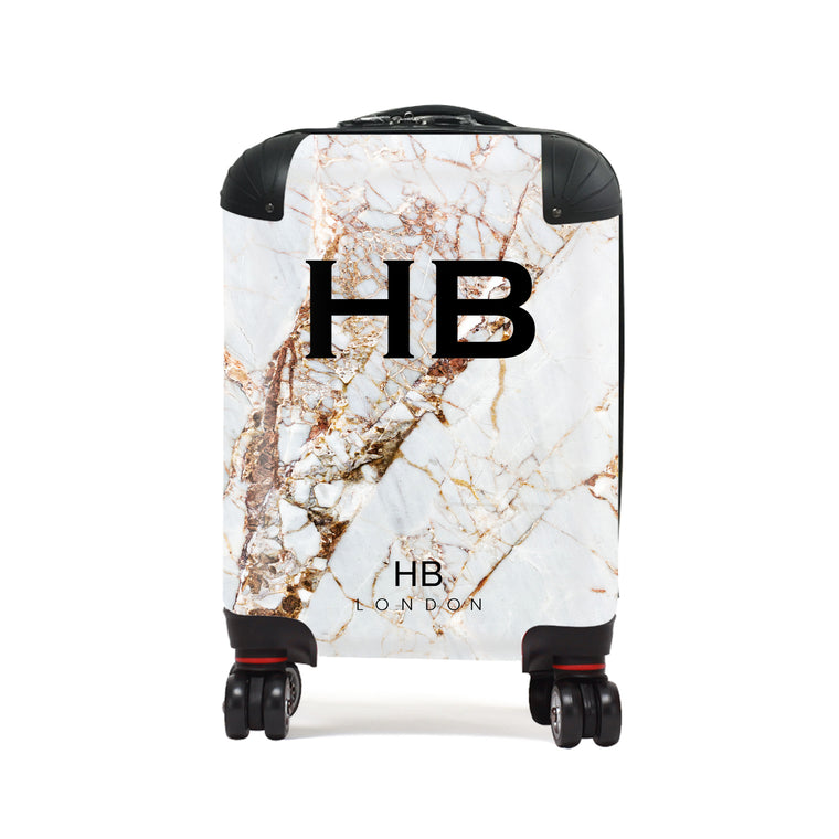 Personalised Natural Cracked Marble Children's Suitcase