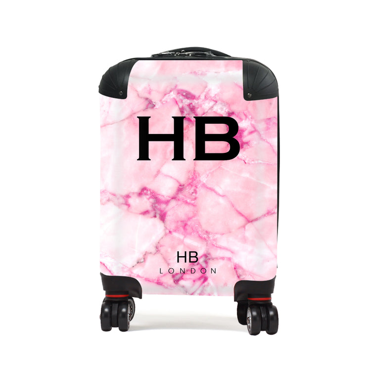 Personalised Pink Natural Marble Children's Suitcase
