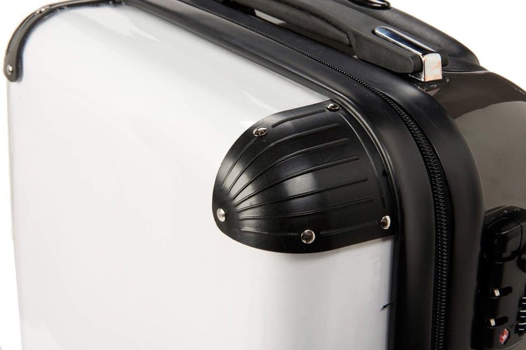 Personalised Grey Stripe with Black Font Initial Suitcase
