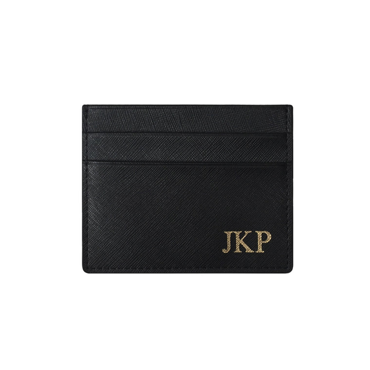 Black Saffiano Leather Double Card Holder