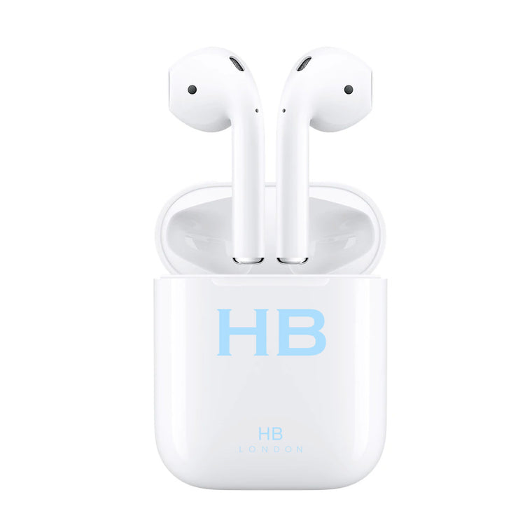Personalised White with Blue Font Initial HD Ear Pods