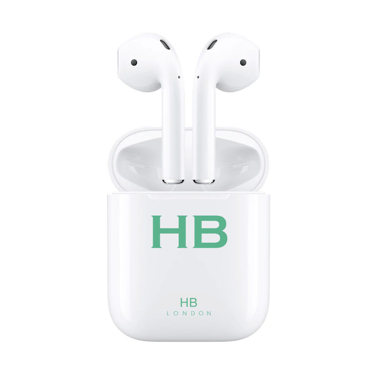 Personalised White with Green Font Initial HD Ear Pods