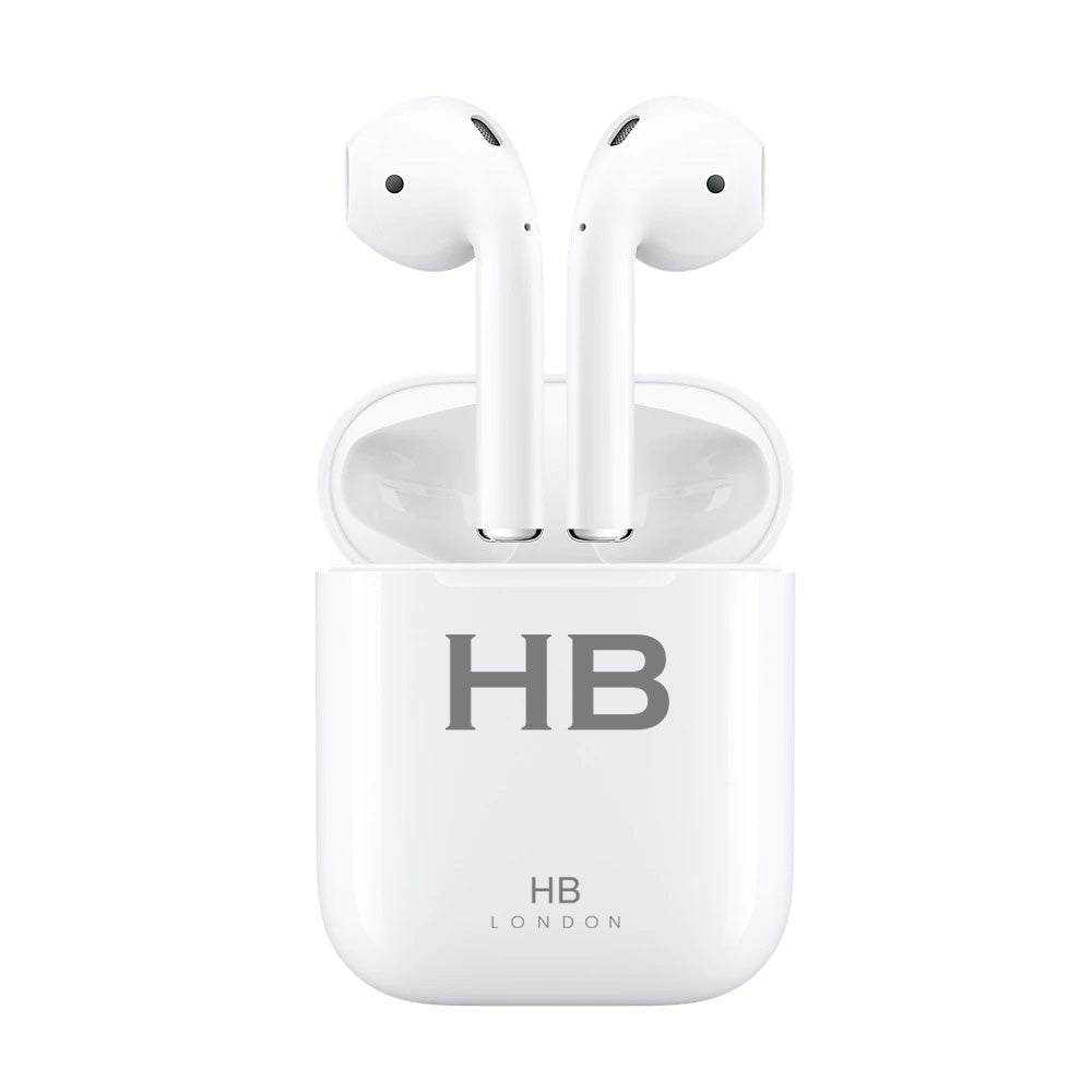 Personalised White with Grey Font Initial HD Ear Pods