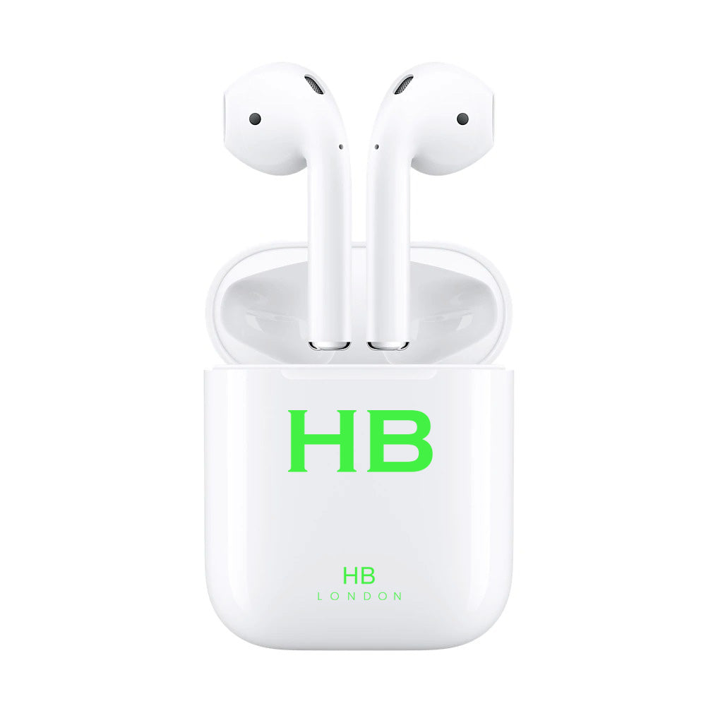 Personalised White with Lime Green Font Initial HD Ear Pods