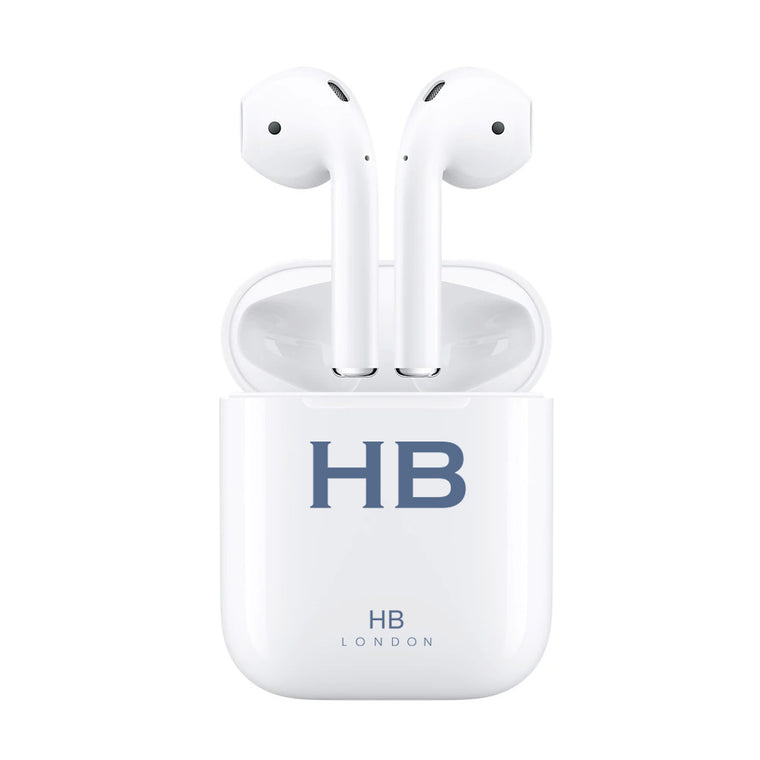 Personalised White with Navy Font Initial HD Ear Pods
