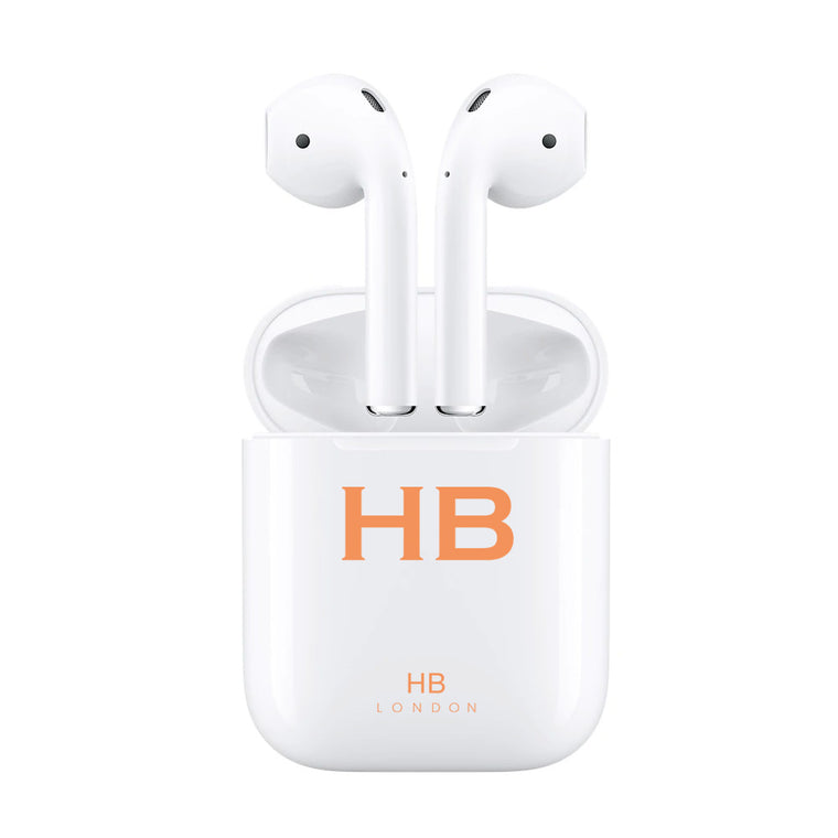Personalised White with Orange Font Initial HD Ear Pods