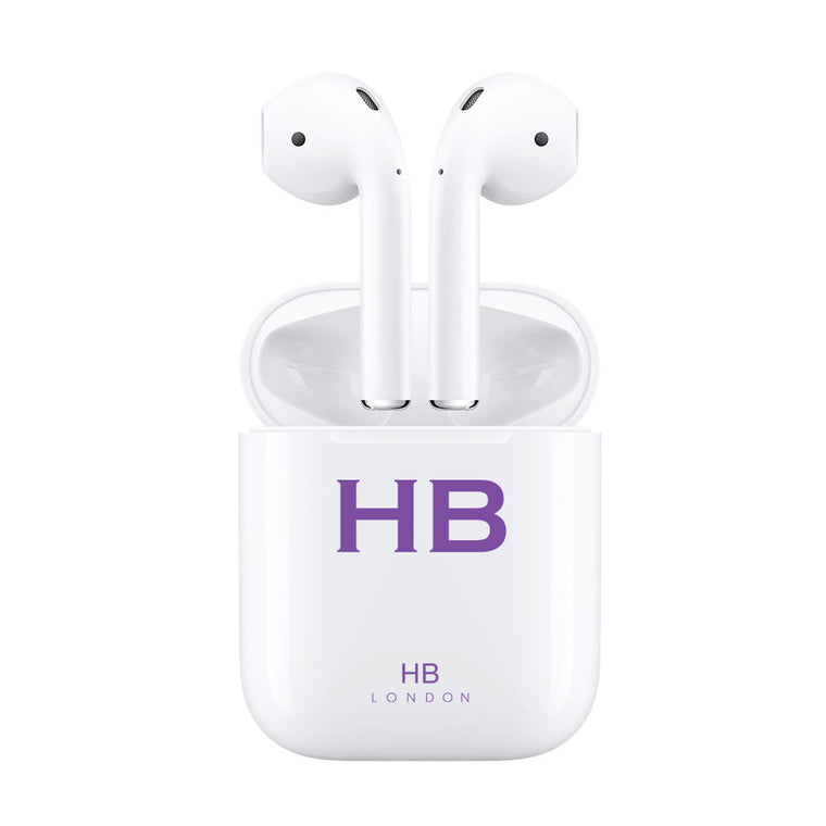 Personalised White with Purple Font Initial HD Ear Pods
