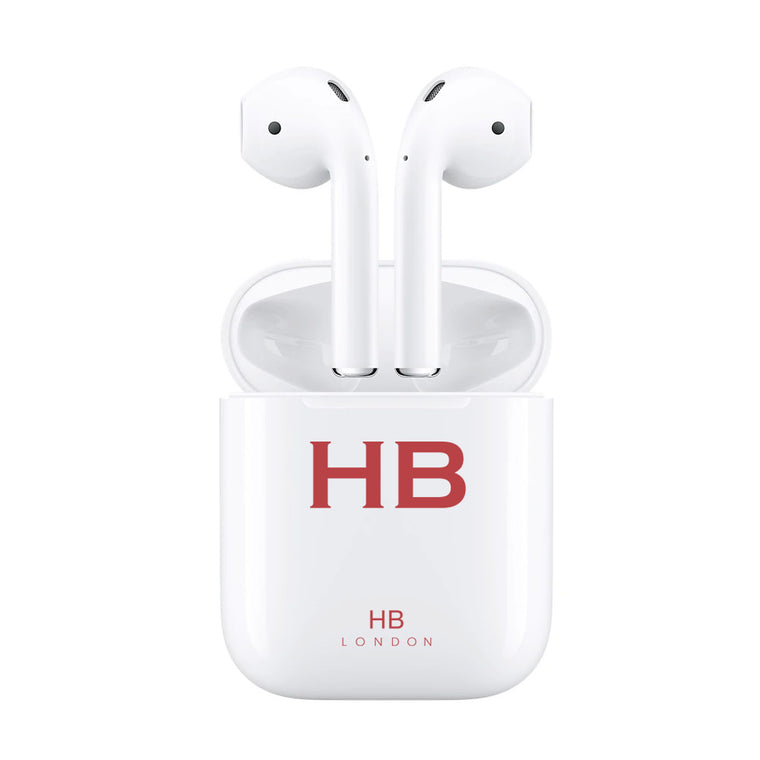 Personalised White with Red Font Initial HD Ear Pods