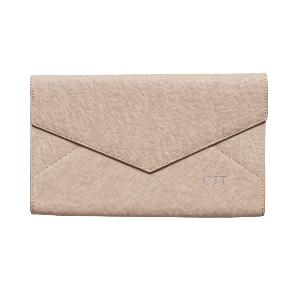 Nude Taupe Saffiano Leather Envelope Bag