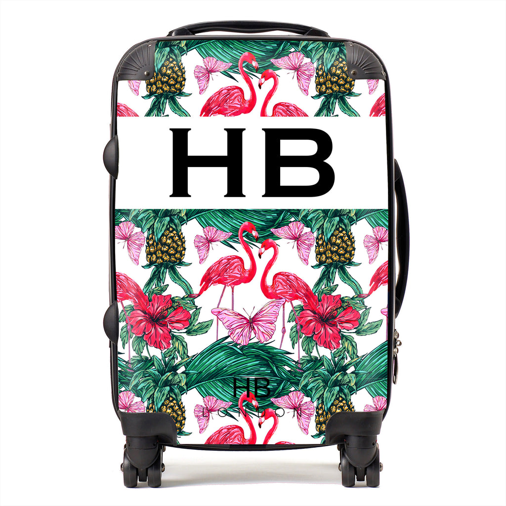 Personalised Flamingo and Butterfly Print Initial Suitcase