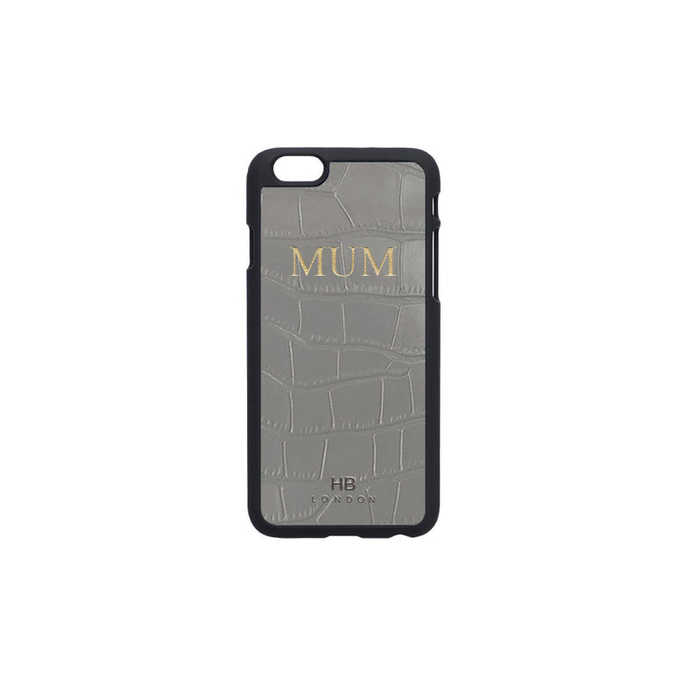 Grey Mock Croc Leather iPhone6/6s Phone Case