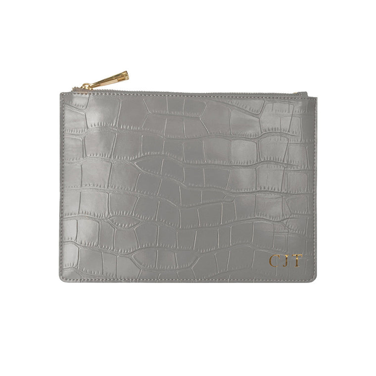Grey Mock Croc Print Leather Clutch | Pouch Bag