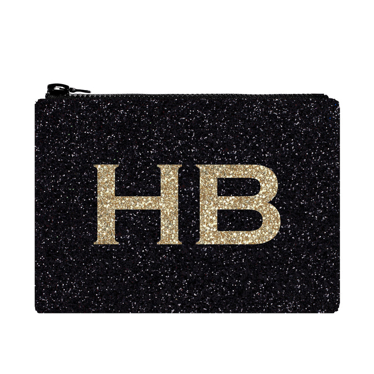 I Know The Queen Personalised Black with Gold Font Initial Glitter Clutch Bag