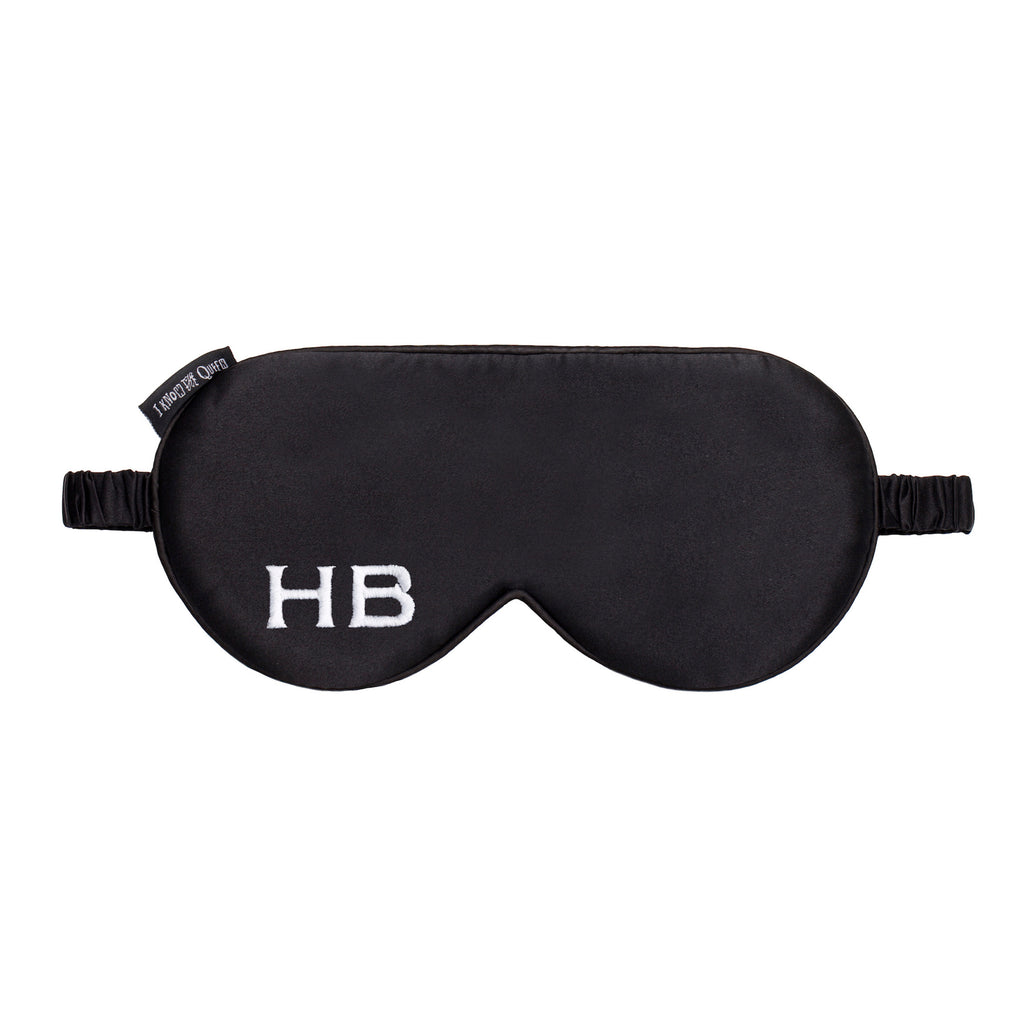 I Know The Queen Personalised Black Silk Embroidered Initial Eye Mask
