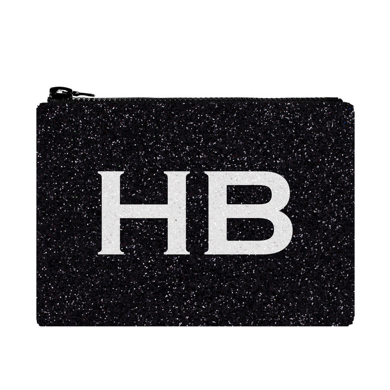 I Know The Queen Personalised Black with White Font Initial Glitter Clutch Bag