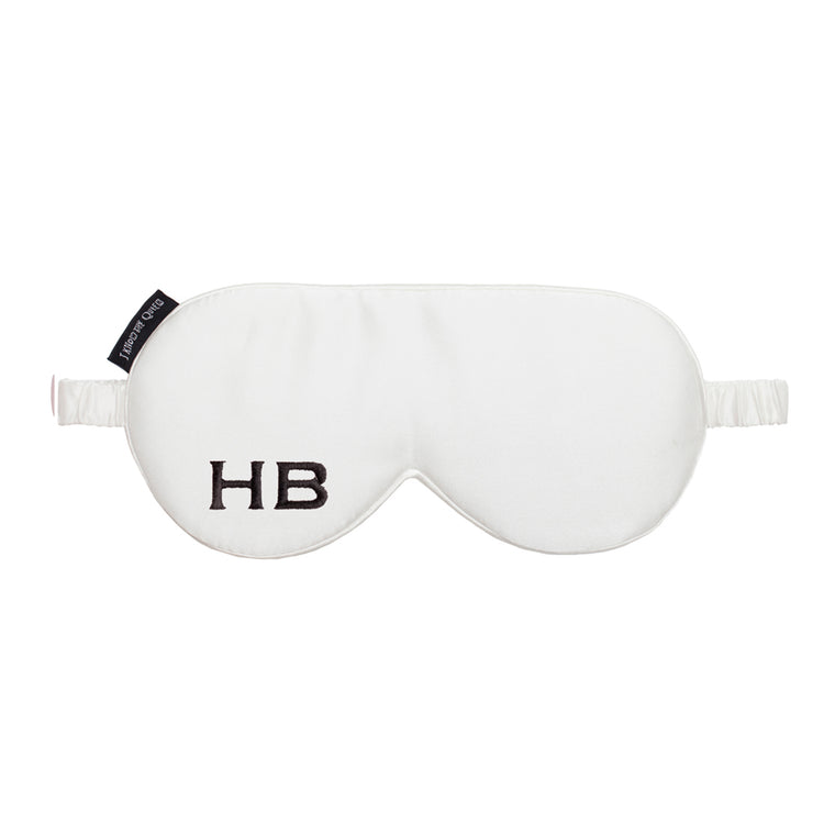 I Know The Queen Personalised White Silk Embroidered Initial Eye Mask