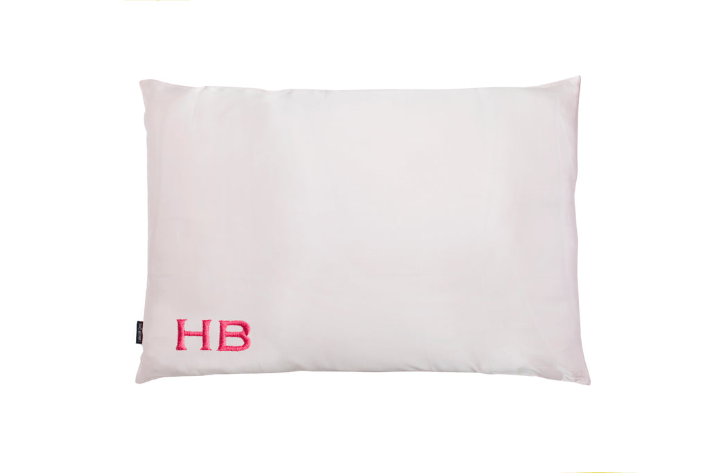 I Know The Queen Personalised Pink Silk Embroidered Initial Pillowcase