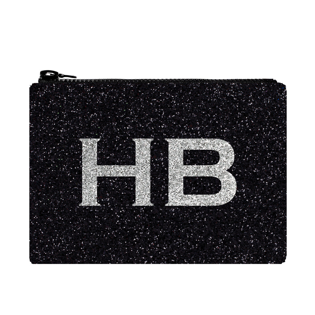 I Know The Queen Personalised Black with Silver Font Initial Glitter Clutch Bag