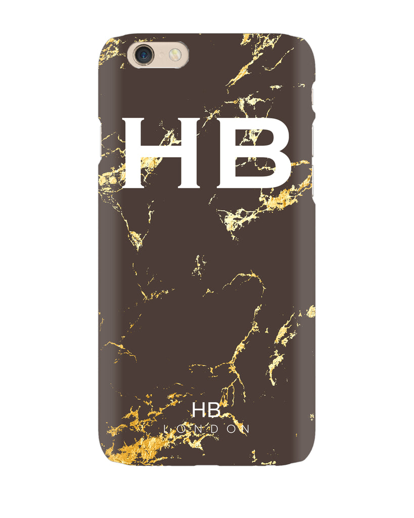 Personalised Chocolate and Gold Marble Initial Phone Case
