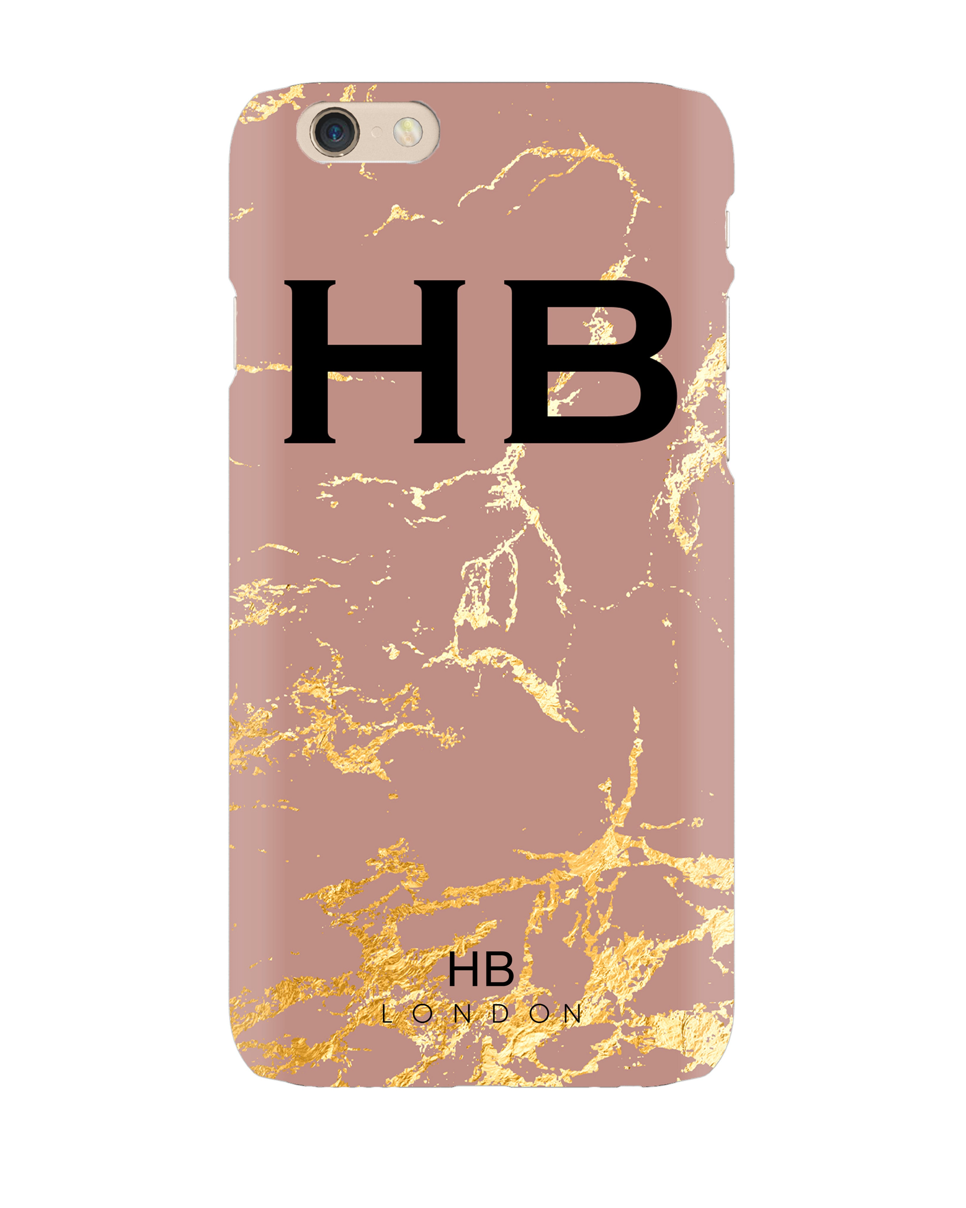 timeless design 6170c 02fea Personalised Dusty Rose and Gold Marble Initial Phone Case