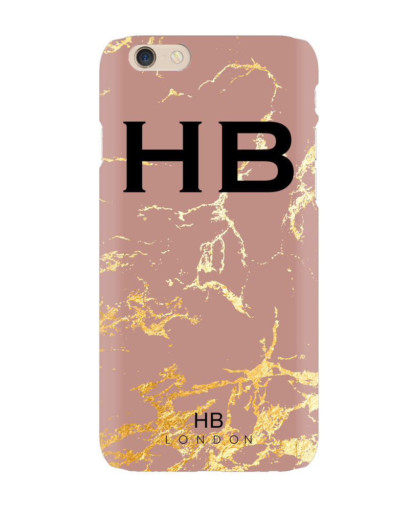 Personalised Dusty Rose and Gold Marble Initial Phone Case
