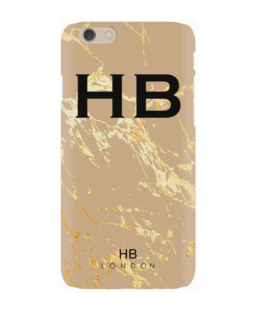 Personalised Nude and Gold Marble Initial Phone Case