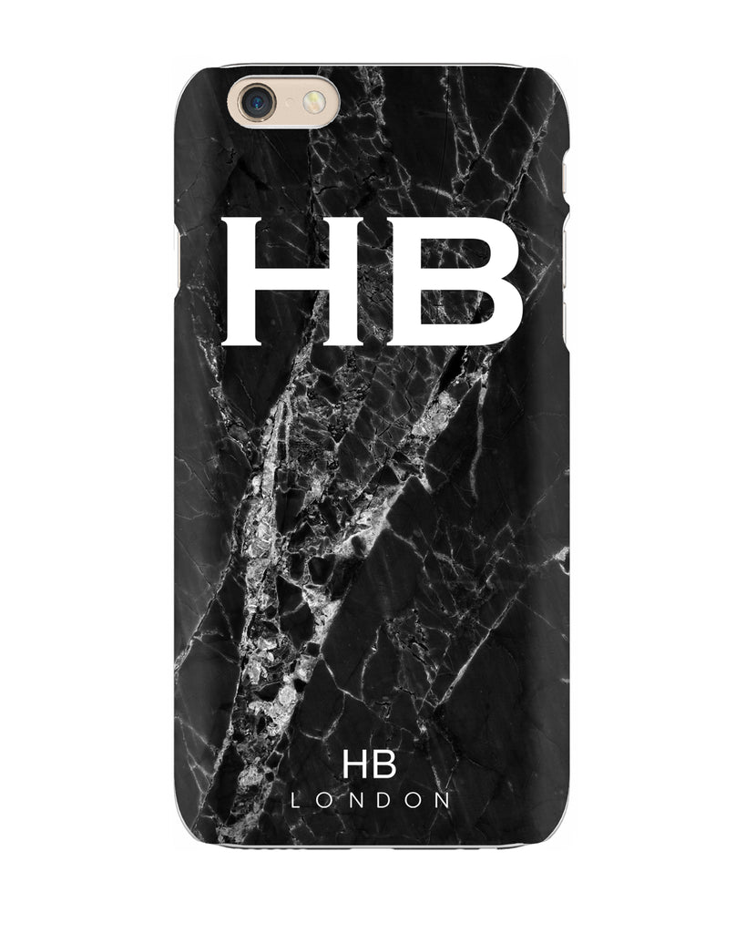 Personalised Black Cracked Marble Initial Phone Case
