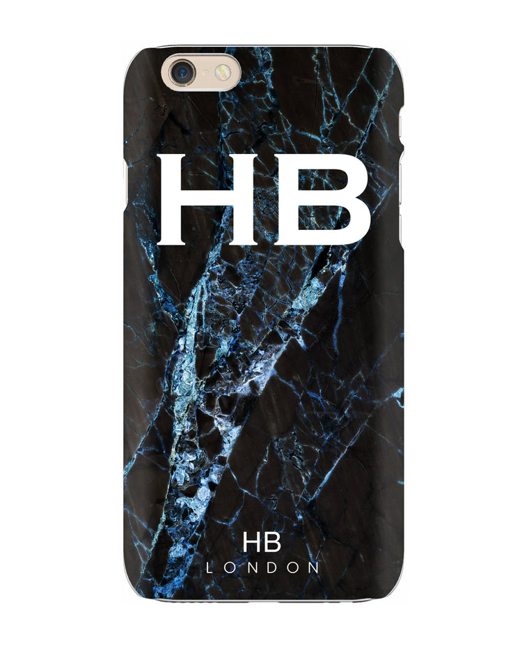 Personalised Black and Blue Cracked Marble Initial Phone Case