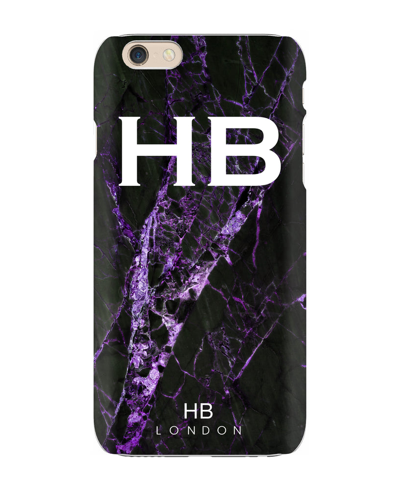 Personalised Black and Purple Cracked Marble Initial Phone Case