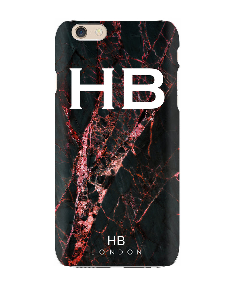 Personalised Black and Red Cracked Marble Initial Phone Case