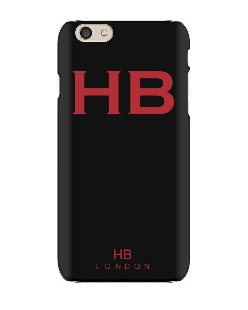Personalised Black with Red Font Initial Phone Case