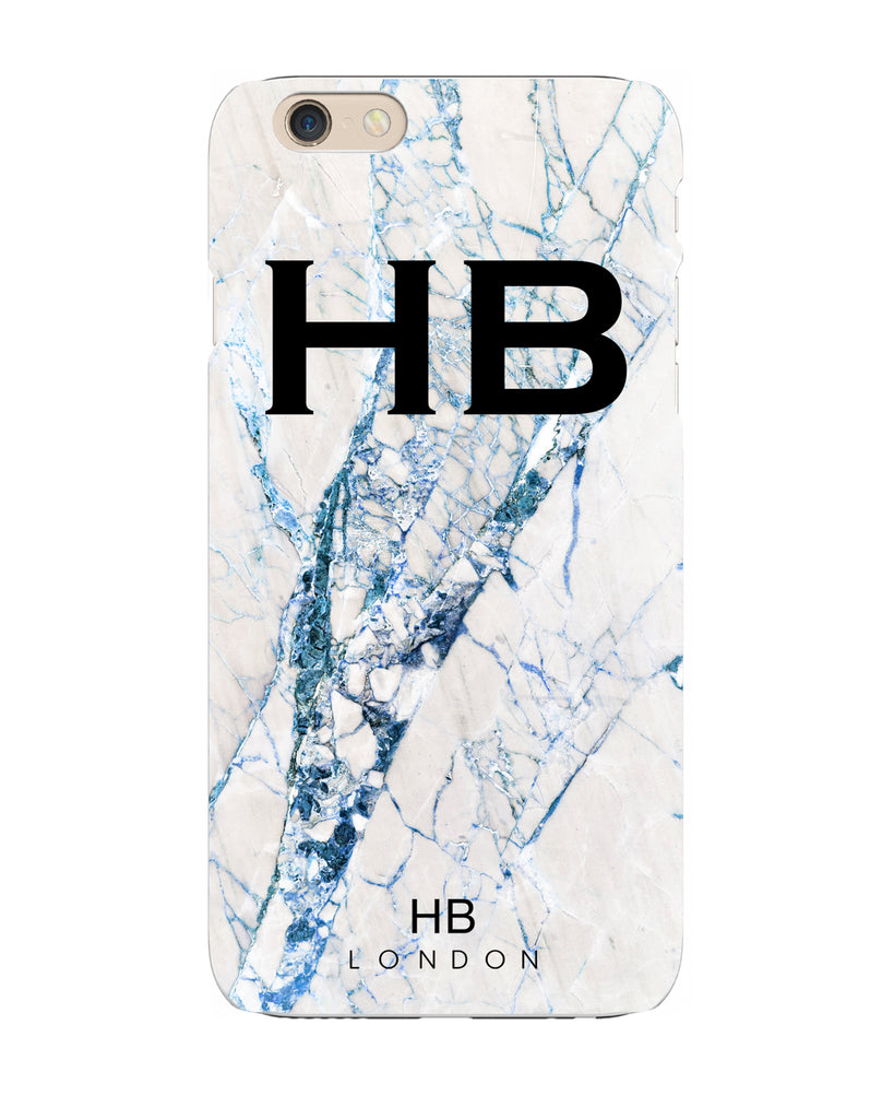Personalised Blue Cracked Marble Initial Phone Case