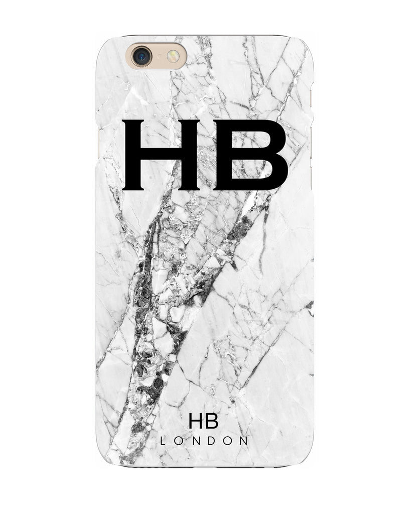 Personalised Monochrome Cracked Marble Initial Phone Case