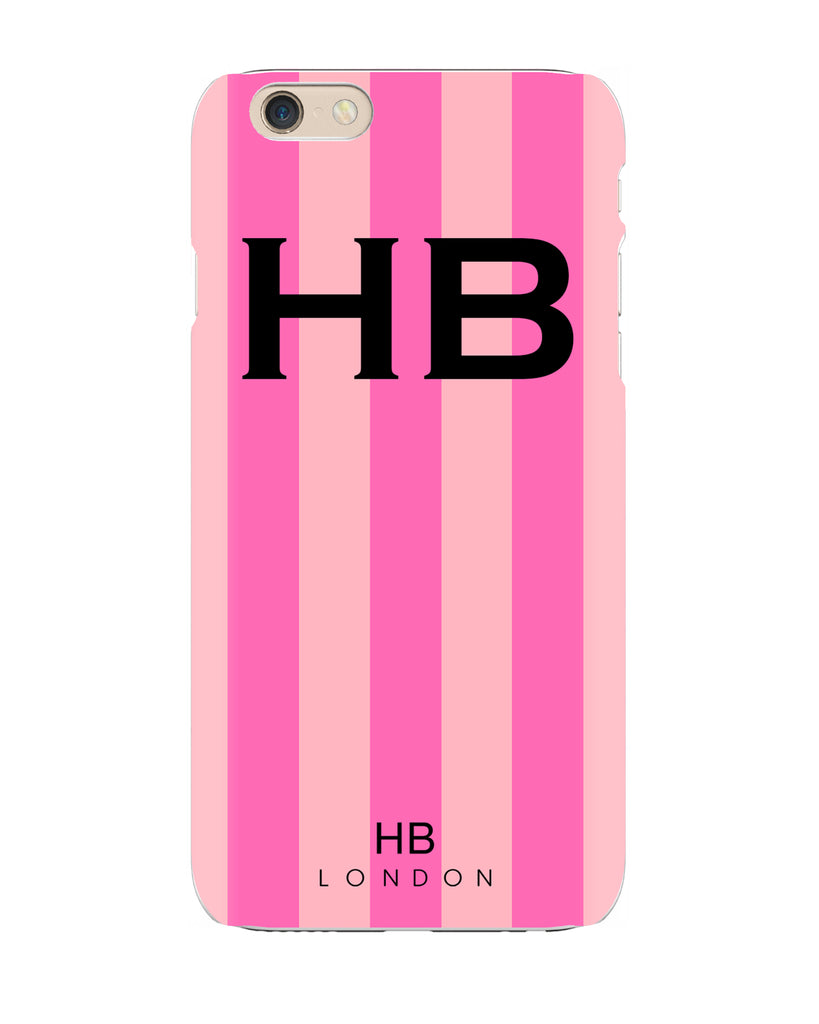 Personalised Pink Stripe with Black Font Initial Phone Case