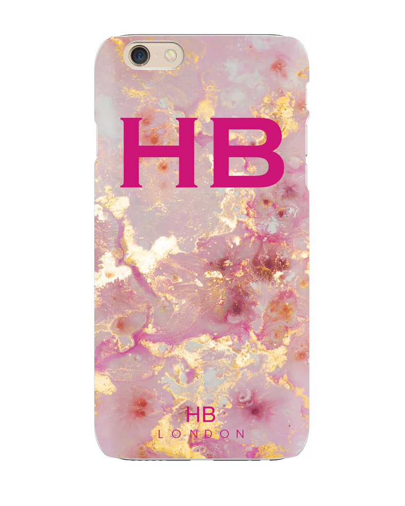 Personalised Pink and Gold Marble with Pink Font Initial Phone Case