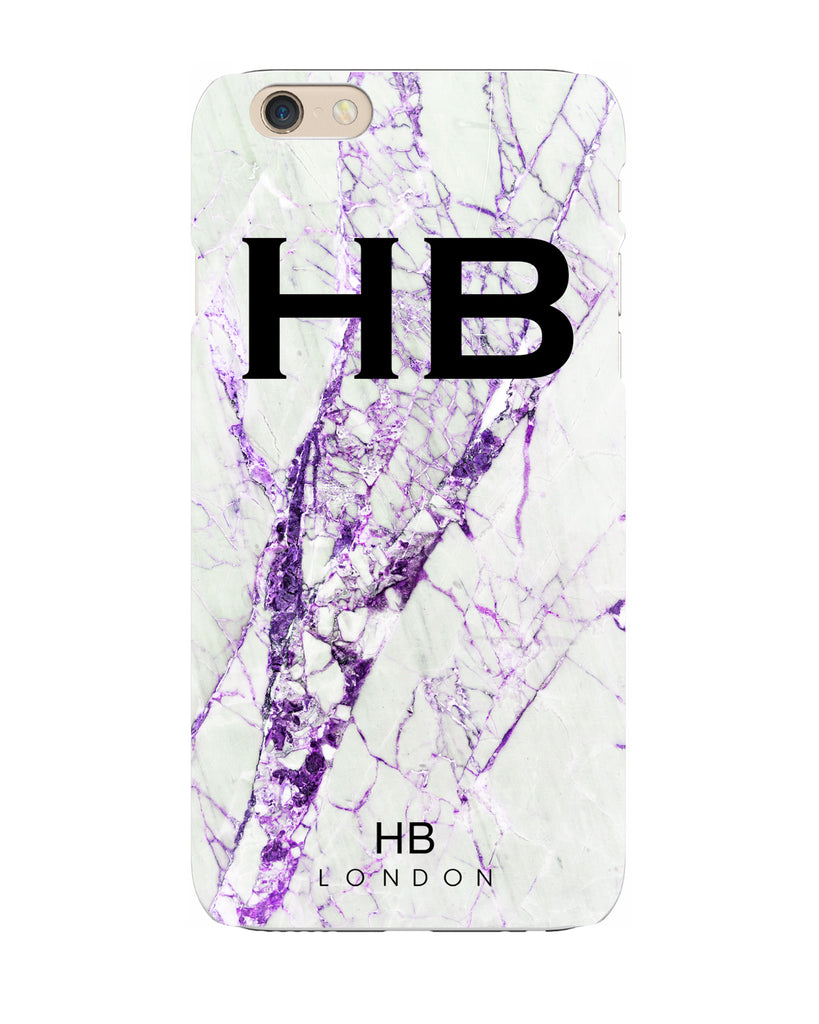Personalised Purple Cracked Marble Initial Phone Case