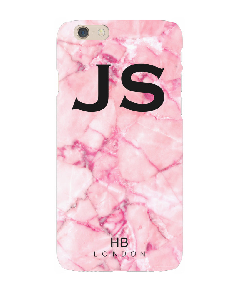Personalised Pink Shattered Marble Initial Phone Case