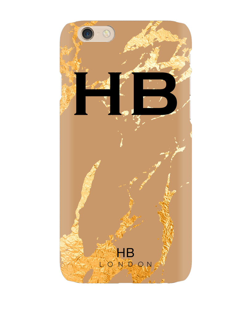 Personalised Taupe and Gold Marble Initial Phone Case