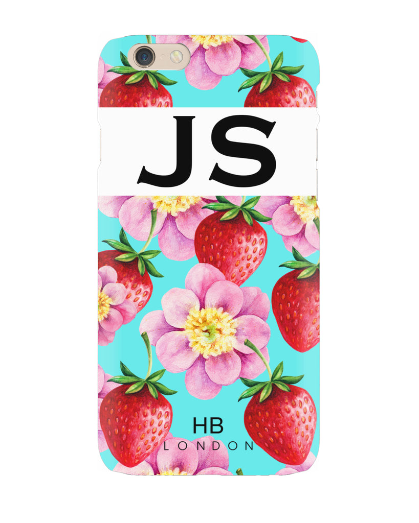 Personalised Strawberry Flowers Initial Phone Case