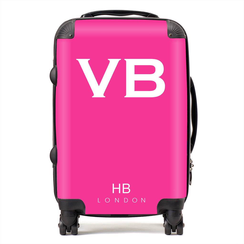 Personalised Hot Pink with White Font Initial Suitcase