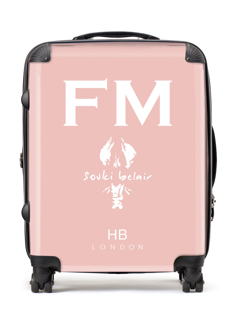 Personalised Nude Pink with Custom Logo Initial Suitcase