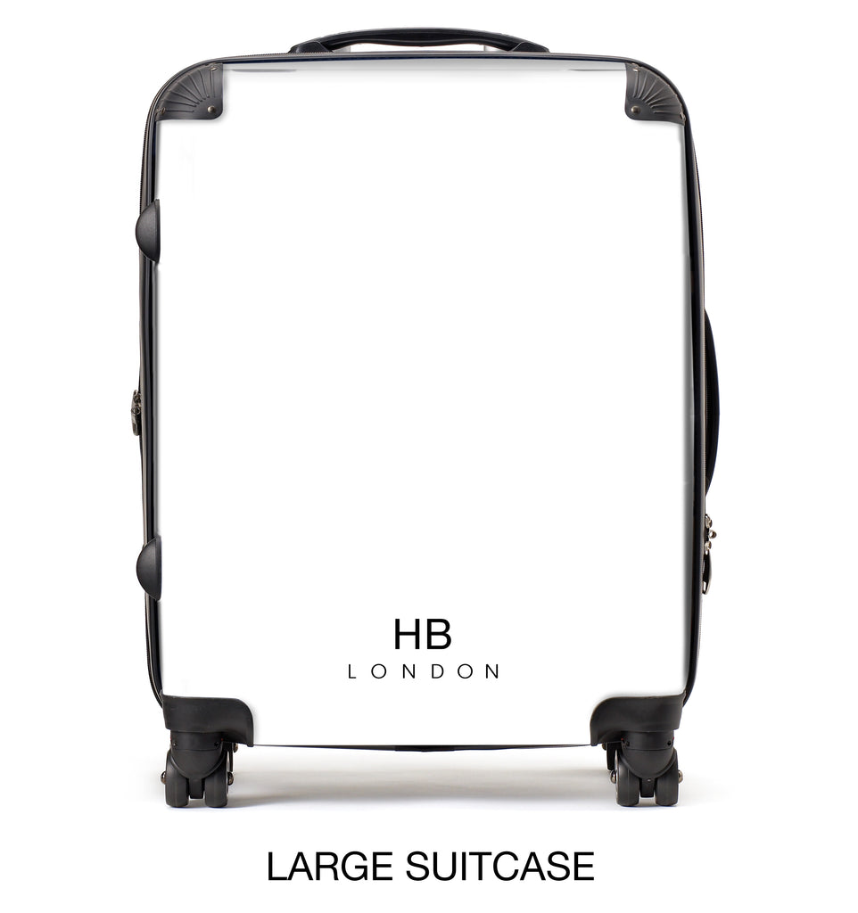 Personalised Blue and White Liquid Marble with Black Font Initial Suitcase