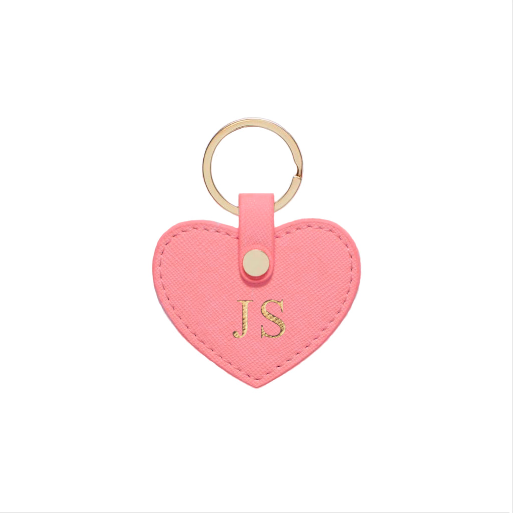 Flamingo Pink Saffiano Leather Key Ring