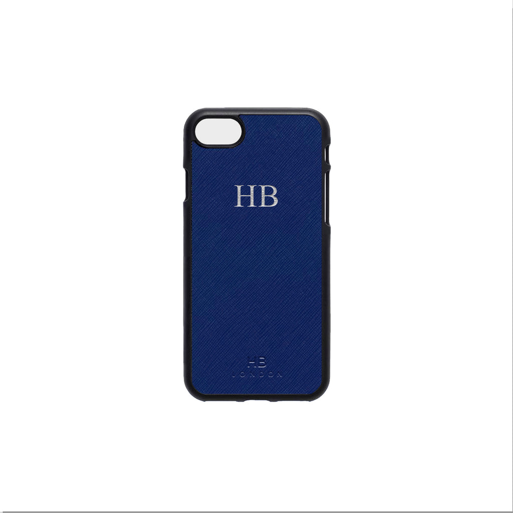 Navy Saffiano Leather iPhone7/8 Phone Case