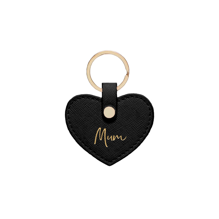 Black Saffiano Leather 'Mum' Key Ring