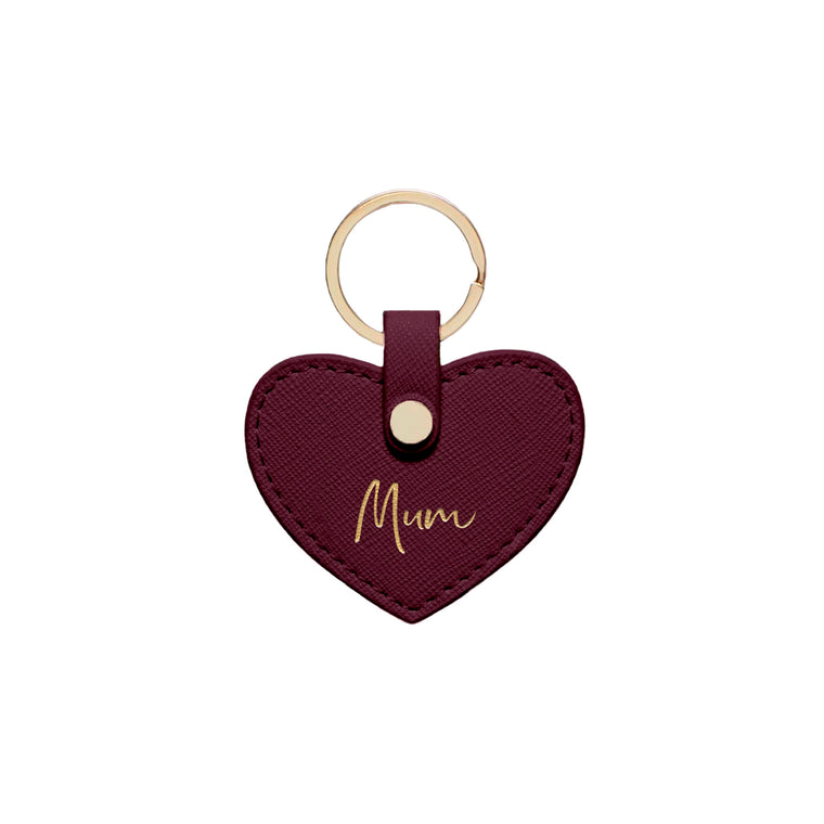 Burgundy Saffiano Leather 'Mum' Key Ring