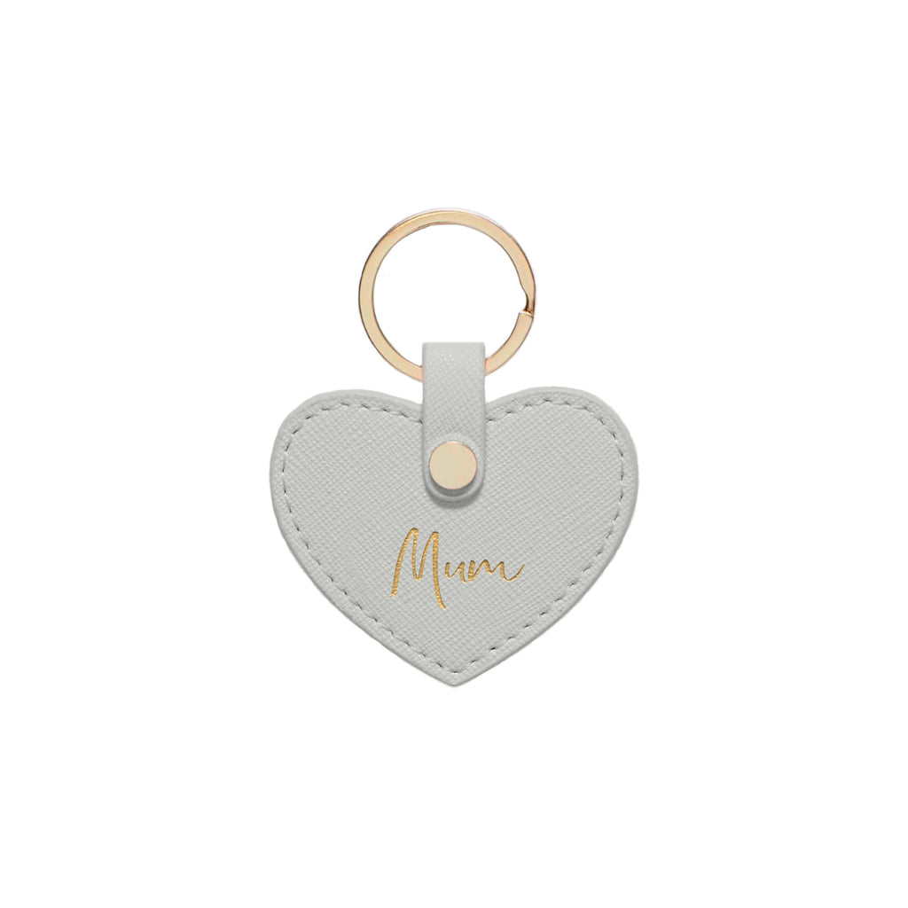 Silver Grey Saffiano Leather 'Mum' Key Ring