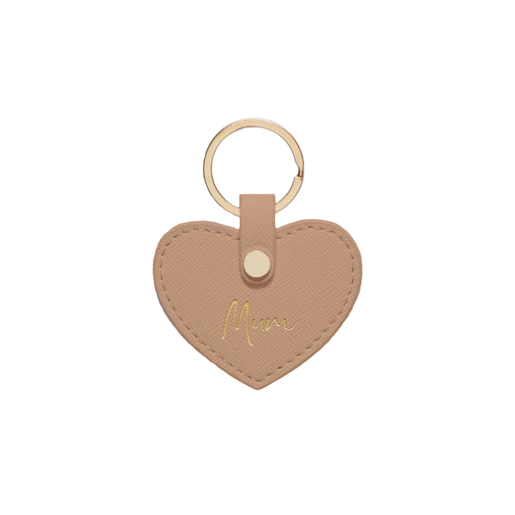 Nude Taupe Saffiano Leather 'Mum' Key Ring