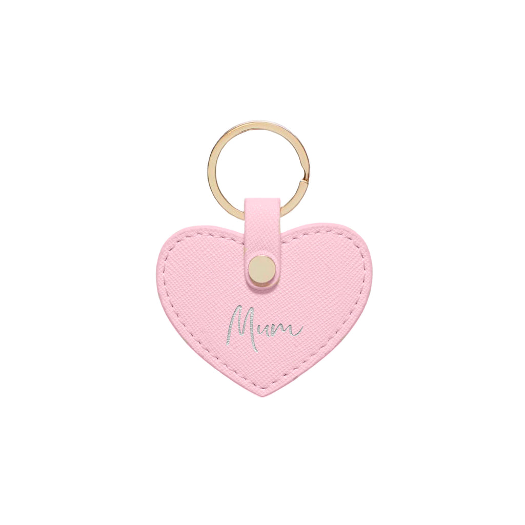 Pink Saffiano Leather 'Mum' Key Ring