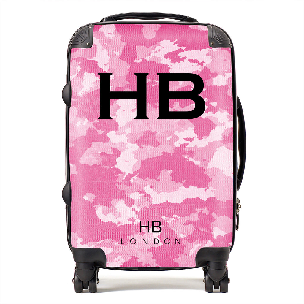 Personalised Pink Camouflage with Black Font Initial Suitcase